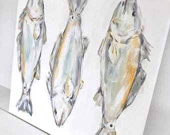 Three Reds: Fish Painting, New Orleans Art, Canvas Art, Seafood Art, Louisiana artist, neutral art, soft colors, big canvas art, redfish art