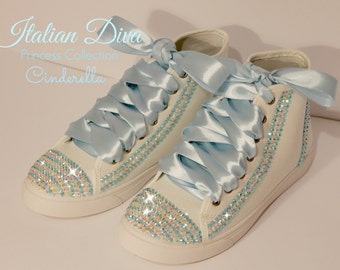 Cinderella shoes in Swarovski style converse base model for brides and not