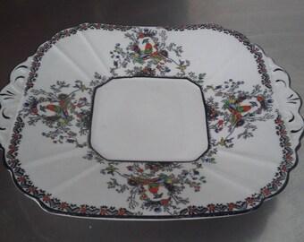 Vintage Melba Bone China Oriental Garden Chintz Serving Sandwich Cake Plate