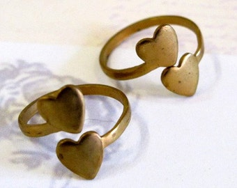 Raw Brass Double Heart Adjustable Rings (4X) (J607-A)