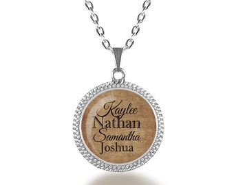 Custom Childrens Name Glass Dome Necklace, Custom Grandchildren Pendant, Grandma Necklace