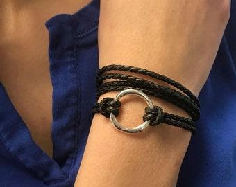 Braided Wrap Bracelet, Infinity Circle Wrap Bracelet, Bolo Braid, Cuff Bracelets, Gift for Her,  Boho Bracelet, Bohemian Bracelet, For Wife