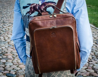 Mens Leather backpack laptop, Leather bag, Genuine leather brown backpack, brown Backpack, Mens backpack - The Sun Also Rises