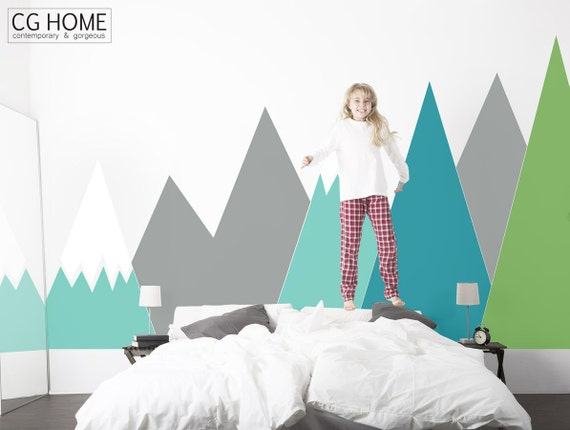 Mountains Wall Decal Baby Wall Decal Headboard Kids Toddlers Room Nursery Decor Customized washable self adhesive sticker #mountains013