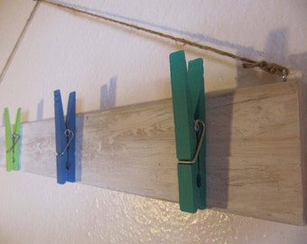 Hanging Art/Picture Display with Colorful Clothespins  l  Kid's Art Display  l  Blue, Green, White