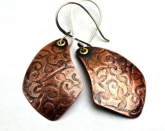 Copper Earrings Rolling Mill Texture Floral Pattern Sterling Silver Ear Wires