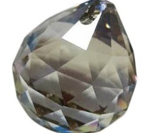 1 Satin Gray Faceted 20mm Ball Chandelier Prism Asfour Lead Crystal