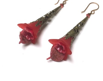 Victorian Filigree Flower Earrings. Long Drop Earrings. Red. Lightweight. Garden. Romantic. Fairy. Be Mine. Handmade Jewelry.