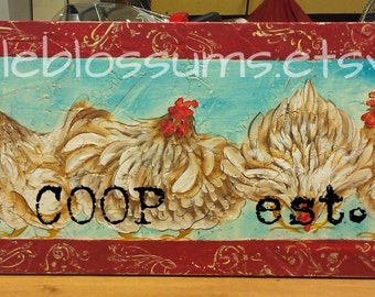 """11"""" X 36"""" #515 Chickens Hens Art on Rustic Wood Personalized"""