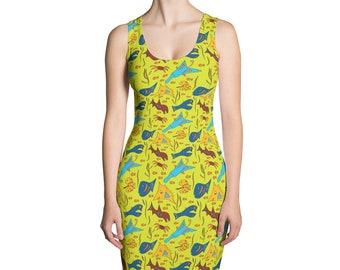 Fun Green Fish Dress, Sea life Stretch Dress, Underwater Form fitted dress. Crabs, fish, sharks