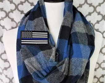 Thin Blue Line Flannel Scarf - Men's or Women's