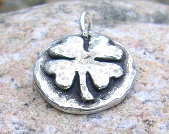 Four Leaf Clover Pendant, Little Shamrock Charm, Good Luck, Rustic Jewelry, St. Patrick's Day, Saint Patrick's Day Jewelry, Lucky Clover