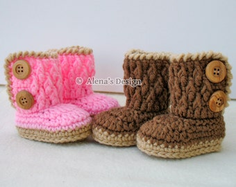 Crochet Pattern 091 - Baby Booties Crochet Pattern - Crochet Booties Pattern for Two-Button Baby Booties 0-3, 3-6, 6-9, 9-12 months Slippers