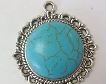 Round Resin Turquoise Blue Pendant 34mm x 30mm x 7mm