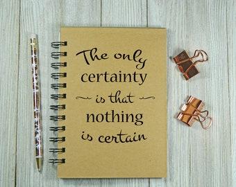 La seule certitude est que rien n'est certain jounal/carnet de notes