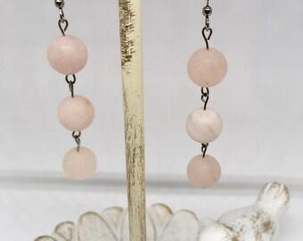 Rose Quartz Earrings/ Handmade Earrings