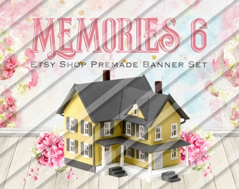"Etsy Shop Banner Set - Graphic Banners - Branding Set - ""Memories 6"""