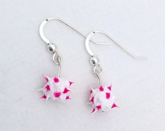 White and pink spiky earrings, spiky rubber earrings, spiky ball earrings, silicone ball earrings, sterling silver and spiky ball dangles