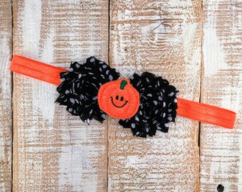 Pumpkin Headband, Fall Headband, Halloween Headband, Newborn Headband, Toddler Headband, Girls Headband, Photography Prop,