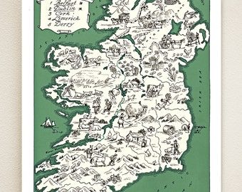 IRELAND MAP PRINT - charming vintage picture map of Ireland - lovely Irish  print to frame - size and color choices - personalize it