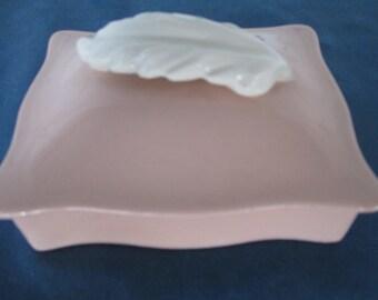 Vintage Pink Art Deco Porcelain Dresser Box Vintage Home Decor Vanity Box Bathroom Decor Gift for Her