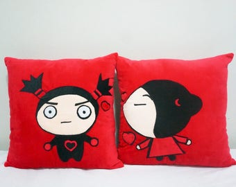 Pucca & Garu Couple Mr Mrs Him Her Velvet Cotton Pillow Cases/Cushion Covers/Throw Pillow Covers