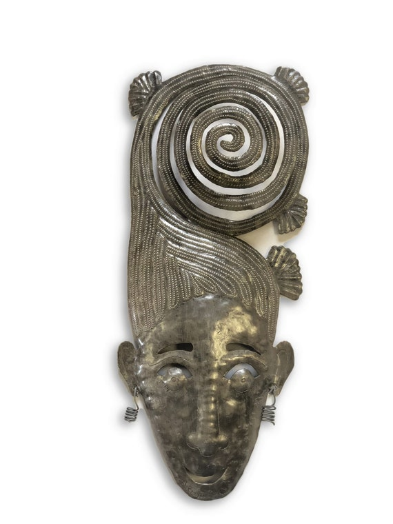 """Swirly Girl Mask Whimsical Home Decor for indoor and outdoor, Haiti Metal Art 7"""" x 17"""""""