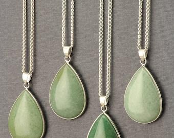 Aventurine Necklace. Green Aventurine Necklace. Teardrop Necklace. Silver Teardrop Pendant. Green Gemstone. Bohemian Green Stone Jewelry.