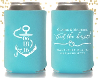 Tied the Knot Nautical Wedding Can Cooler Beer Cozy Favor