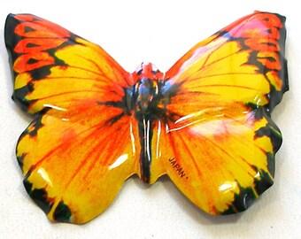 Jouet papillon broche japonais bijoux en métal, insecte jaune & orange.