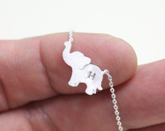 elephant necklace, personalized initial elephant necklace,initial jewelry,Elephant Jewelry, sterling silver elephant