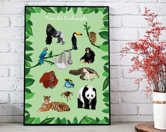 Poster - Animals of the jungle