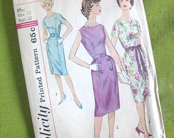 1960s Dress Pattern Simplicity 3874 Princess Seam Sheath Dress Womens Vintage Sewing Pattern / Size 12