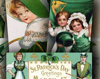 St. Patricks Day Victorian Postcards in 1x2 inches for domino art and more -- piddix digital collage sheet no. 258