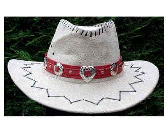 Red leather hat band, cowboy hat band, heart conchos, ladies hat band, womens hat band, concho hat band, cowgirl hat band, hat strap