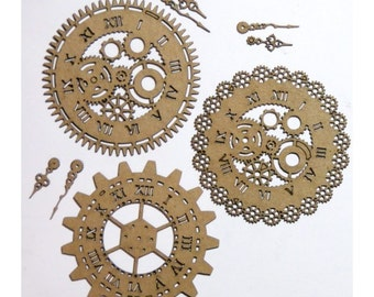 Steampunk Clocks Set of 3 Laser Cut Chipboard FREE SHIPPING! in US