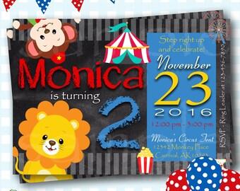 Circus Birthday Invitations, Carnival Birthday Invitations, Carnival Party Invitations, Digital Circus Invites, Personalized Invites - L92