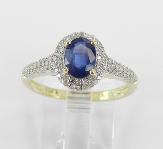 Yellow Gold Diamond and Sapphire Halo Engagement Ring September Birthstone Promise Size 7