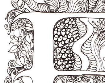 Monogram - F - Initial, Colour-Me-In Illuminated Letters, original art  drawings by melanie j cook