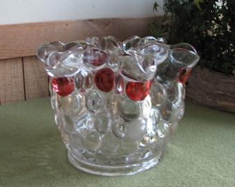 Vintage Westmoreland Thousand Eye-Flash Large Flower Arranger Vase Crimped Centerpiece or Coffee Table Bowl Florist Ware Home Decor