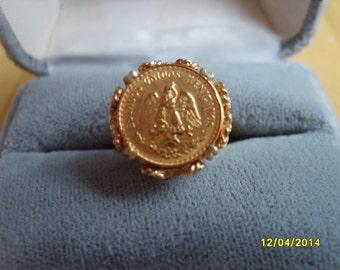 14k Dos Pesos Gold Ring, Gold Coin Ring, Dos Pesos Gold Ring, Gold Coin Ring, 14k Gold Ring, Dinner Ring, Gold Jewelry, Pesos Gold Coin