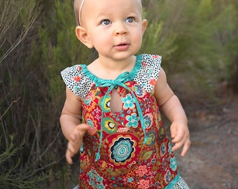 Free Spirit dress with tie, ruffle and flutter sleeves - Red Indie Folk, Sizes 1, 2, 3, 4, 5, 6