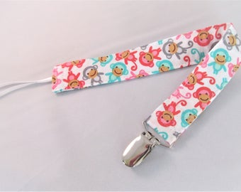 Universal Fabric Pacifier & Toy Clip - Mini Monkeys - Baby Girl - Paci Clip, Teether Clip, Binky Clip, Baby Shower Gift