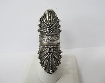 Vintage 925 Sterling Silver Handmade Ornate Ring W #881