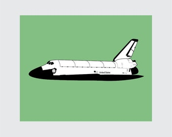 Space Shuttle Art Print, 8x10 PRINTABLE, NASA, Instant Download, Digital