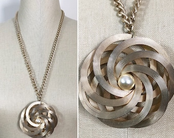 70s Large Gold Circle Medallion with Pearl Long Chain Pendant Necklace