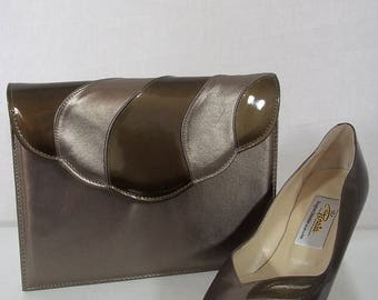 Vintage 1980's - Italian 'Renata' Bronze/Olive Green High-Heeled All Leather Shoes with Matching Clutch/Handbag - UK Size 4