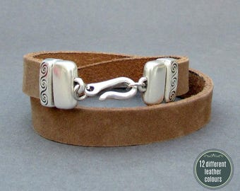 Double Wrap Mens Leather Bracelet Cuff Leather Mens Bracelet Cuff Silver Plating  Customized On Your Wrist