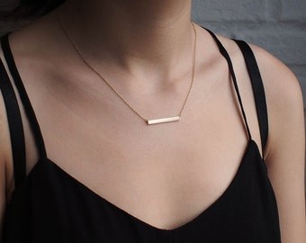 Bar Necklace, Personalized Engraved Name Plate Necklace, Medium Skinny Bar Necklace #GNB3.30