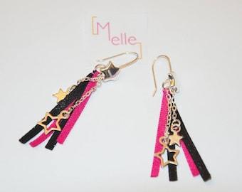[Melles] Pink and black stars (ribbons earrings)
